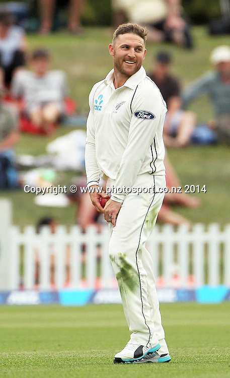 Brendon McCullum, captain of the Black Caps bowls the last over of the day on Day 2 of the boxing Day Cricket Test Match between the Black Caps v Sri Lanka at Hagley Oval, Christchurch. 27 December 2014 Photo: Joseph Johnson / www.photosport.co.nz