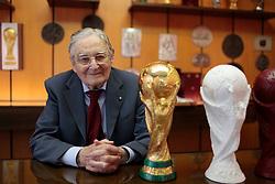 22.02.2014, Bertoni GDE, Mailand, ITA, FIFA WM, FIFA WM POKAL, Gazzaniga, im Bild Silvio Gazzaniga, 94 Jahre alt, ist ein italienischer Bildhauer. Im Jahre 1971 entwarf er den FIFA WM-Pokal die Trophae, die seit 1974 an den Fussballweltmeister ueberreicht wird. Die Trophae wurde in der Originalfabrik in Bertoni GDE, naehe Mailand hergestellt. Auf dem Bild ist ein Replikat und ein Plastikmodell zu sehen // during a Photoshooting of Silvio Gazzaniga, who is designed the FIFA Worldcup Trophy in the Year 1971 at the Bertoni GDE in Mailand, Italy on 2014/02/22. EXPA Pictures © 2014, PhotoCredit: EXPA/ Eibner-Pressefoto/ Cezaro<br /> <br /> *****ATTENTION - OUT of GER*****