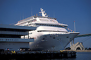Luxury passenger liner cruise ship at the world cruise center at the Port of Los Angeles, California