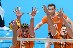 Solkem van Gijs and Michael Parkinson of Netherland  during friendly volleyball match between National Men teams of Slovenia and Netherlands, on Januar 2nd, 2020, in Dvorana Tabor, Maribor, Slovenia. Photo by Milos Vujinovic / Sportida