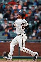 SAN FRANCISCO, CA - MAY 26: Stephen Vogt #21 of the San Francisco Giants hits a double against the Arizona Diamondbacks during the ninth inning at Oracle Park on May 26, 2019 in San Francisco, California. The Arizona Diamondbacks defeated the San Francisco Giants 6-2. (Photo by Jason O. Watson/Getty Images) *** Local Caption *** Stephen Vogt