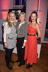 Astrid Harbord, Sarah Juliet Harbord and Davina Harbord at Mark Shand's Adventures and His Cabinet Of Curiosities VIP private view, 32 Portland Place, London, England. 20 February 2018.