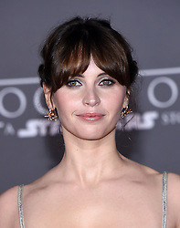 Celebrities arrive at the 'Rogue One: A Star Wars Story' movie premiere in Hollywood, California. 10 Dec 2016 Pictured: Felicity Jones. Photo credit: American Foto Features / MEGA TheMegaAgency.com +1 888 505 6342
