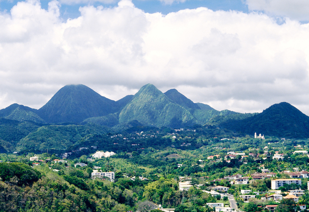 Martinique. North from the city of Fort-de-France toward the central massif mountains of the Caribbean island of Martinique