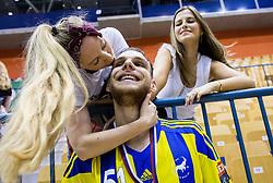Borut Mackovsek with Hajdi Korosec and his girlfrend celebrate as National Champions 2017 during trophy ceremony after handball match between RK Celje Pivovarna Lasko and RK Gorenje Velenje in Last Round of 1. Liga NLB 2016/17, on June 2, 2017 in Arena Zlatorog, Celje, Slovenia. Photo by Vid Ponikvar / Sportida