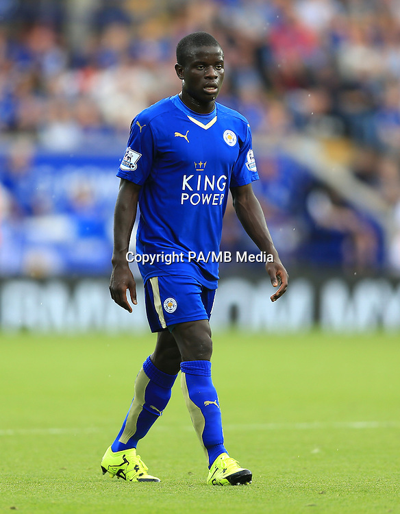 """Leicester City's NÕGolo Kante during the Barclays Premier League match at the King Power Stadium, Leicester. PRESS ASSOCIATION Photo. Picture date: Saturday August 22, 2015. See PA story SOCCER Leicester. Photo credit should read: Nigel French/PA Wire. RESTRICTIONS: EDITORIAL USE ONLY No use with unauthorised audio, video, data, fixture lists, club/league logos or """"live"""" services. Online in-match use limited to 45 images, no video emulation. No use in betting, games or single club/league/player publications."""