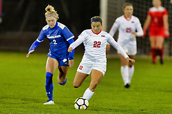 NORMAL, IL - October 17:  Katie Sidloski & Abby Basler during an NCAA Missouri Valley Conference (MVC)  women's soccer match between the Indiana State Sycamores and the Illinois State Redbirds October 17 2018 on Adelaide Street Field in Normal IL (Photo by Alan Look)
