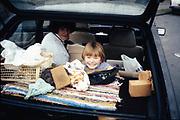 Josephine & Kayleigh in car, UK, 1980s.