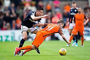 Dundee defender Cammy Kerr (#2) fouls Dundee United midfielder Billy King (#11) during the Betfred Scottish Cup group stage match between Dundee and Dundee United at Dens Park, Dundee, Scotland on 29 July 2017. Photo by Craig Doyle.