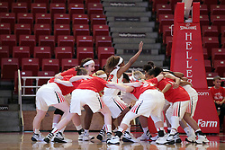 21 December 2015: Redbirds pre-game huddle and pump up routine.  Illinois State University Women's Basketball team hosted The Cougars of Chicago State at Redbird Arena in Normal Illinois.