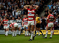 Photo: Jed Wee.<br /> Hull v Wigan Warriors. Engage Super League. 30/04/2006.<br /> <br /> Wigan's Jordan James has his hands on his head as Wigan concede more than 50 points in a comprehensive defeat.