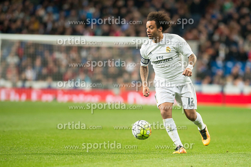 20.03.2016, Estadio Santiago Bernabeu, Madrid, ESP, Primera Division, Real Madrid vs Sevilla FC, 30. Runde, im Bild Real Madrid's Marcelo Vieira // during the Spanish Primera Division 30th round match between Real Madrid and Sevilla FC at the Estadio Santiago Bernabeu in Madrid, Spain on 2016/03/20. EXPA Pictures &copy; 2016, PhotoCredit: EXPA/ Alterphotos/ Borja B.Hojas<br /> <br /> *****ATTENTION - OUT of ESP, SUI*****