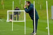 England coach Gary Neville looks on at his players during the England Training Session at St George's Park National Football Centre, Burton-Upon-Trent, United Kingdom on 7 October 2015. Photo by Aaron Lupton.