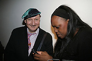 Stephen Jones and  Pat McGrath, Michael Roberts - book launch party hosted by Vanity Fair to celebrate  publication, Shot In Sicily. Hamiltons Gallery, 13 Carlos Place, London,17 September 2007. -DO NOT ARCHIVE-© Copyright Photograph by Dafydd Jones. 248 Clapham Rd. London SW9 0PZ. Tel 0207 820 0771. www.dafjones.com.