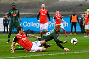 Ryan Taylor (19) of Plymouth Argyle is unable to reach a cross to score while being pressurised by Peter Murphy (8) of Morecambe during the EFL Sky Bet League 2 match between Plymouth Argyle and Morecambe at Home Park, Plymouth, England on 18 March 2017. Photo by Graham Hunt.