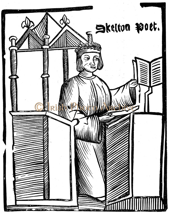John Skelton (1460?-1529) English satirical poet. Tutor to Prince Henry (later Henry VIII). From an edition of 'Colyn Cloute' his long poem against Cardinal Wolsey. Woodcut