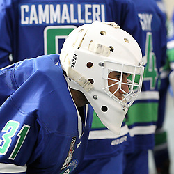 BURLINGTON, ON - SEP 9:  Mario Cavaliere #31 of the Burlington Cougars during the OJHL regular season game between the Orangeville Flyers and the Burlington Cougars. Orangeville Flyers and Burlington Cougars  on September 9, 2016 in Burlington, Ontario. (Photo by Tim Bates / OJHL Images)