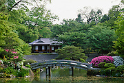 The ornamental landscaped garden of the Imperial Palace in Kyoto, Japan