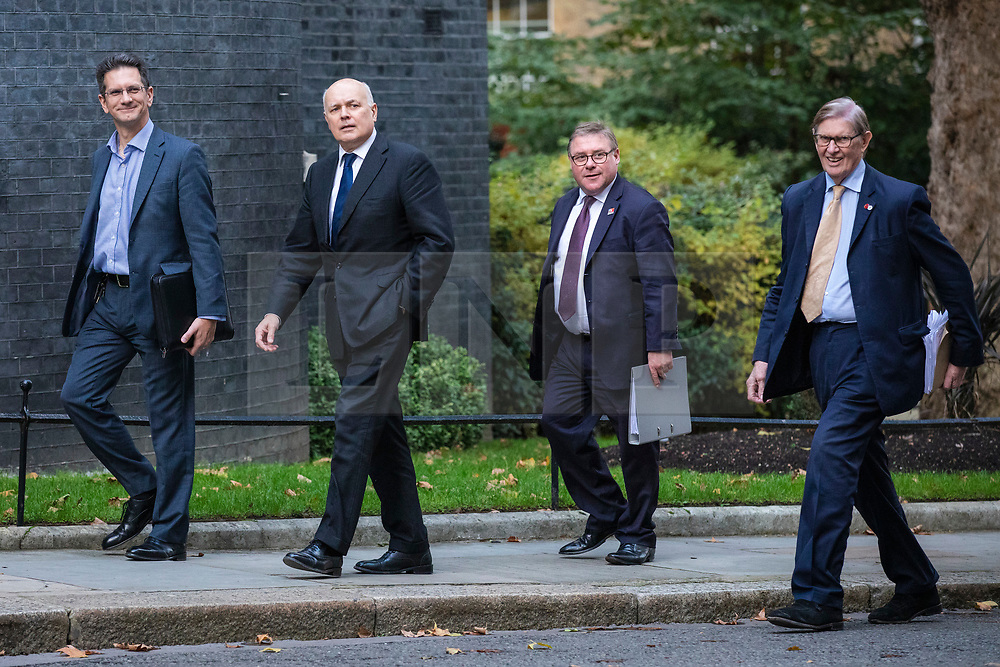 © Licensed to London News Pictures. 16/10/2019. London, UK. From left: Steve Baker MP, Ian Duncan Smith MP, Mark Francois MP and Bill Cash MP arrive at 10 Downing Street. Photo credit: Rob Pinney/LNP