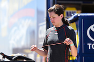 TUCSON, ARIZONA - MAY 07:  Julia Landauer, driver of the #54 Toyota Racing, prepares for practice for the NASCAR K&N Pro Series West NAPA Auto Parts Wildcat 150 at Tucson Speedway on May 7, 2016 in Tucson, Arizona.  (Photo by Jennifer Stewart/NASCAR via Getty Images)