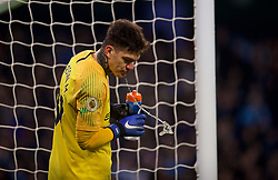 MANCHESTER, ENGLAND - Thursday, January 3, 2019: Manchester City's goalkeeper Ederson Moraes spits out water during the FA Premier League match between Manchester City FC and Liverpool FC at the Etihad Stadium. (Pic by David Rawcliffe/Propaganda)