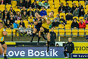 Ben Smith and Jordie Barrett jump for the ball during the super rugby union  game between Hurricanes  and Highlanders, played at Westpac Stadium, Wellington, New Zealand on 24 March 2018.  Hurricanes won 29-12.