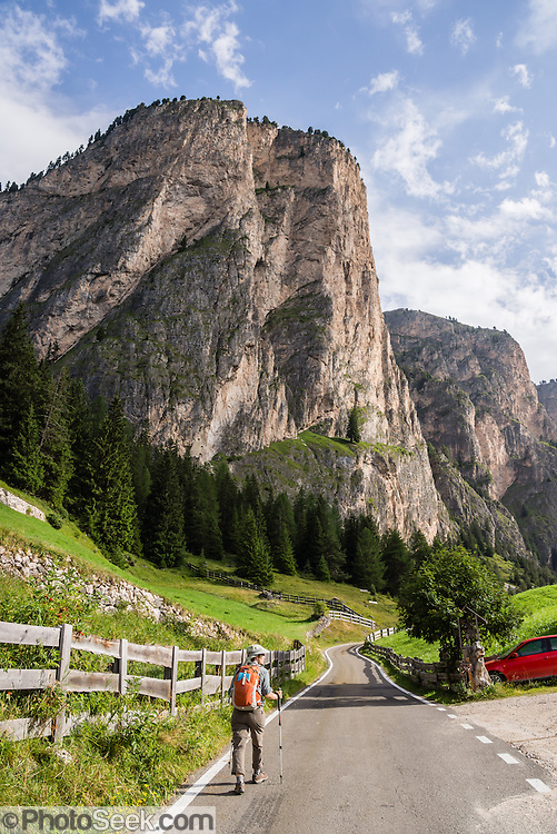 A hiker walks up a quiet road in Vallunga/Langental valley, Puez-Geisler Nature Park, Val Gardena, Dolomites, South Tyrol, Italy, Europe. The beautiful ski resort of Selva di Val Gardena (German: Wolkenstein in Gröden; Ladin: Sëlva Gherdëine) makes a great hiking base in the Dolomites, in the South Tyrol region (Trentino-Alto Adige/Südtirol) of Italy, Europe. For our favorite hike in the Dolomiti, start from Selva with the first morning bus to Ortisei, take the Seceda lift, admire great views up at the cross on the edge of Val di Funes (Villnöss), then walk 12 miles (2000 feet up, 5000 feet down) via the steep pass Furcela Forces De Sieles (Forcella Forces de Sielles) to beautiful Vallunga (trail #2 to 16), finishing where you started in Selva. The hike traverses the Geisler/Odle and Puez Groups from verdant pastures to alpine wonders, all preserved in a vast Nature Park: Parco Naturale Puez-Odle (German: Naturpark Puez-Geisler; Ladin: Parch Natural Pöz-Odles). UNESCO honored the Dolomites as a natural World Heritage Site in 2009.