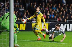 Swansea Defender Ben Davies (WAL) heads clear from Napoli Forward Jose Callejon (ESP) - Photo mandatory by-line: Rogan Thomson/JMP - Tel: 07966 386802 - 20/02/2014 - SPORT - FOOTBALL - Liberty Stadium, Swansea -  Swansea City v SSC Napoli - UEFA Europa League, Round of 32, First Leg.