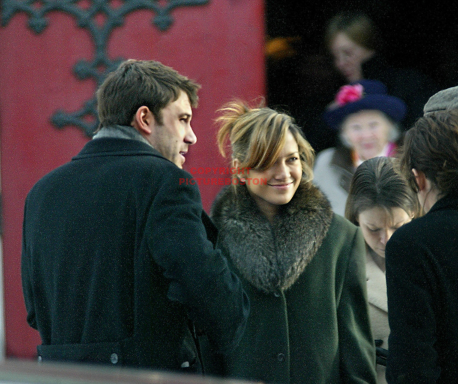 Ben Affleck and Jennifer Lopez leave a Brookline,MA church funeral after  the funeral for his grandmother. Photo by Mark Garfinkel