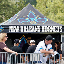 June 5, 2012; Metairie, LA, USA; A tent for the New Orleans Hornets set up for fans watching New Orleans Saints minicamp at the team's practice facility. The Hornets were purchased last month by Saints owner Tom Benson (not pictured). Mandatory Credit: Derick E. Hingle-US PRESSWIRE