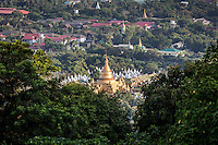Looking across to the Kuthodaw Pagoda in Mandalay, Burma
