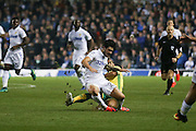 Leeds United midfielder Alex Mowatt (27)  is fouled by Norwich City midfielder Louis Thompson (34)  during the EFL Cup 4th round match between Leeds United and Norwich City at Elland Road, Leeds, England on 25 October 2016. Photo by Simon Davies.