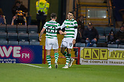 31st October 2018, Kilmac Stadium, Dundee, Scotland; Ladbrokes Premiership football, Dundee v Celtic; Tomas Rogic of Celtic  is congratulated after scoring for 1-0 in the 20th minute by Kieran Tierney