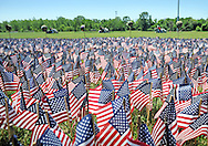 Motorcyclists arrive in the background for a ceremony for which the Delaware Valley Vietnam Veterans planted 65,000 flags at the Falls Township Community Park to honor the servicemen and servicewomen killed in Vietnam, Iraq and Afghanistan Sunday, June 12, 2016 in Fairless Hills, Pennsylvania.  The display is to mark Flag Day, which is June 14. (Photo by William Thomas Cain)