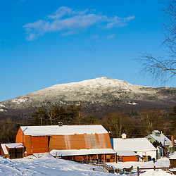Mount Monadnock in winter as seen from East Hill Farm in Troy, New Hampshire.