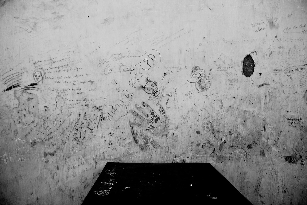 Drawings and writing on a school wall in northern Vietnam.