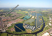 aerial photograph of  The Redgrave Pinsent Rowing Lake  Reading Berkshire  England UK