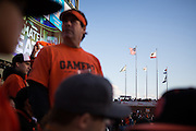 The clear sky would later be replaced with dark clouds of heavy rain in the ninth inning of the NLCS Game 7 between the San Francisco Giants and the St. Louis Cardinals on Oct. 22, 2012 in San Francisco, Calif.  The Giants would go on to win, 9-0, making their second World Series appearance in 3 years.  Photo by Stan Olszewski/SOSKIphoto.