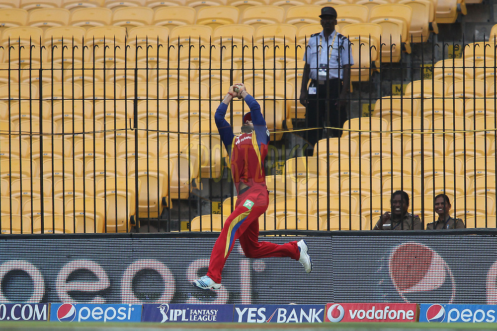 Royal Challengers Bangalore captain Virat Kohli takes the catch to get Ravindra Jadeja of Chennai Super Kings wicket during match 37 of the Pepsi IPL 2015 (Indian Premier League) between The Chennai Superkings and The Royal Challengers Bangalore held at the M. A. Chidambaram Stadium, Chennai Stadium in Chennai, India on the 4th May April 2015.<br /> <br /> Photo by:  Shaun Roy / SPORTZPICS / IPL