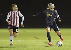 February 20, 2019 - Sheffield, United Kingdom - Alex Greenwod (Manchester United) about to pass chased down by Veatriki Sarri (Sheffield United) during the  FA Women's Championship football match between Sheffield United Women and Manchester United Women at the Olympic Legacy Stadium, on February 20th Sheffield, England. (Credit Image: © Action Foto Sport/NurPhoto via ZUMA Press)