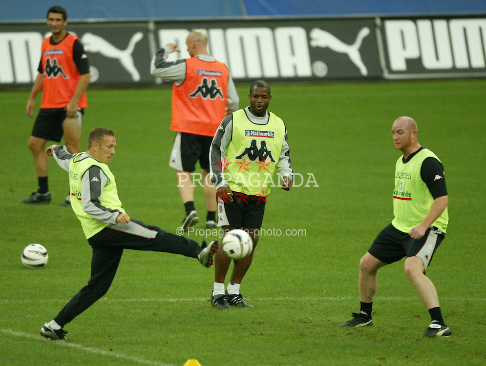 MILAN, ITALY - Thursday, September 4, 2003: Wales' Craig Bellamy, Nathan Blake and John Hartson during training at the San Siro ahead of their Group 9 Euro 2004 qualifyer against Italy. (Pic by David Rawcliffe/Propaganda)