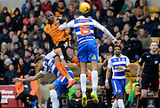 Benik Afobe wins header during the Sky Bet Championship match between Wolverhampton Wanderers and Reading at Molineux, Wolverhampton, England on 7 February 2015. Photo by Alan Franklin.