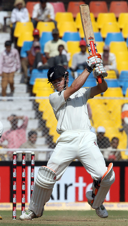 New Zealand Batsman Kane Williamson Hit The Shot Against India During The 1st Test Match India vs New Zealand Day-3 Played at Sardar Patel Stadium, Motera, Ahmedabad 6, November 2010 (5-day match)