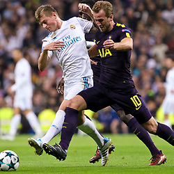 Harry Kane of Tottenham Hotspurand Toni Kroos of of Real  in action during Uefa Champions League (Group H) match between Real Madrid and Tottenham Hotspur at Santiago Bernabeu Stadium on October 17, 2017 in Madrid  (Spain) (Photo by Luis de la Mata / SportPix.org.uk)