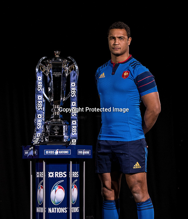 REPRO FREE***PRESS RELEASE NO REPRODUCTION FEE*** <br /> 2015 RBS 6 Nations Rugby Championship Launch, The Hurlingham Club, Ranelagh Gardens, London 28/1/2015<br /> France captain Thierry Dusautoir with the 6 Nations Trophy<br /> Mandatory Credit &copy;INPHO/James Crombie
