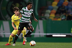 February 14, 2019 - Lisbon, Portugal - Sporting's midfielder Wendel from Brazil (R ) vies with Villarreal's midfielder Santiago Caseres during the UEFA Europa League Round of 32 First Leg football match Sporting CP vs Villarreal CF at Alvalade stadium in Lisbon, Portugal on February 14, 2019. (Credit Image: © Pedro Fiuza/NurPhoto via ZUMA Press)