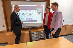 Pictured: John Swinney discussed the attainment programme with Robyn Wade, PEF co-ordinator, and Andy Rooney, Schools Programme Co-ordinator<br /><br />The Deputy First Minister visited Holy Rood High School in Edinburgh today to meet parents and pupils before announcing GBP50 million funding for improving attainment.  The results of a survey of headteachers were also published during the Deputy First Minister's visit.<br /><br /> Ger Harley | EEm 30 May 2019