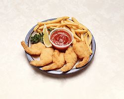 plate fried shrimp chips french fry fries tartar sauce lemon wedge garnish blue plate special