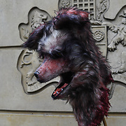 A coyote head demonstration of animals cruelty at London Fashion Week at Strand, UK 15 September 2018.