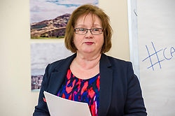 Pictured: Maureen Watt.<br /> Today Mental Health Minister Maureen Watt vsiisted the Royal Hospital in Edinburgh to help aunch the online resource aimed at young people in this Eating Disorders Awareness Week, While thee she met two two Beat ambassadors, Constance Barter and Ballari Conner<br /> <br /> Ger Harley | EEm 28 Fbruary 2018